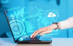 有未来技术标志的现代笔记本计算机 免版税图库摄影