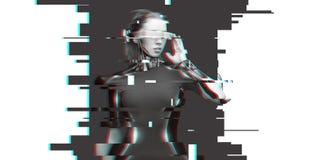 有未来派玻璃和传感器的妇女靠机械装置维持生命的人 免版税图库摄影