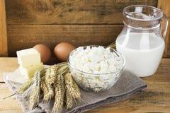 有机产品:鸡蛋,牛奶,酸奶干酪,黄油,在a的麦子 库存照片