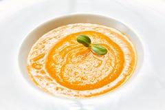 有机南瓜汤 顶视图 素食食物 库存图片