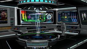 有机器人全息图的科学机器人学实验室 免版税库存图片