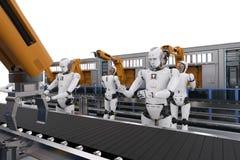 有机器人胳膊的靠机械装置维持生命的人 皇族释放例证