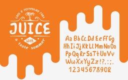 有机手写的字体汁液 免版税图库摄影
