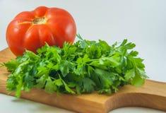 有机新鲜的红色蕃茄和荷兰芹 库存图片