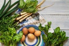 有机新鲜蔬菜和鸡蛋 维生素和蛋白质的来源 黄瓜、荷兰芹、奎奴亚藜和蓬蒿 库存照片