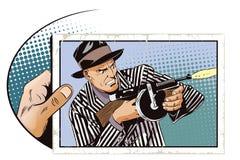 有机枪的人 背景明亮的例证桔子股票 库存例证