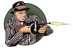 有机枪的人 背景明亮的例证桔子股票 向量例证