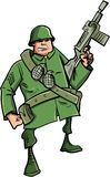 有机枪的动画片战士 免版税图库摄影