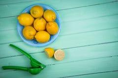 有机柠檬和汁液剥削者在桌上 库存照片