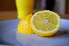 有机柠檬和被装瓶的柠檬汁作为被保存的对比新鲜和 库存照片