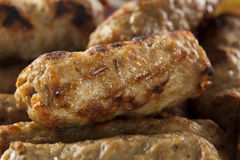 有机煮熟的槭树早餐香肠 免版税库存图片