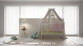 有机盖小儿床的,最小相互斯堪的纳维亚白色儿童卧室 免版税图库摄影