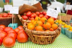有机红色和金黄蕃茄在农夫`市场上 库存照片
