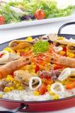 有机肉菜饭海鲜西班牙语 库存图片