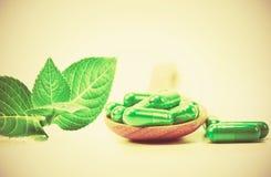 有机草本绿色医学胶囊 免版税图库摄影