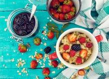 有机酸奶干酪用黑莓、草莓和莓 免版税库存图片