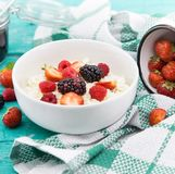 有机酸奶干酪用黑莓、草莓和莓 库存图片