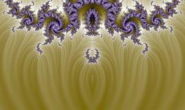 有机金子紫色复杂分数维Pano背景 免版税库存图片