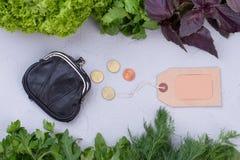 有机食品、金钱和空白的标签 免版税库存图片