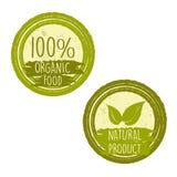 100%有机食品和与叶子的自然产品签字 免版税图库摄影
