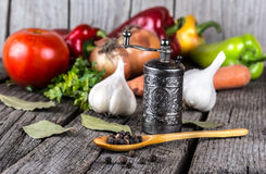 有机食品背景菜胡椒磨 免版税库存照片