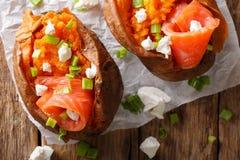 有机食品:用红色鱼和绿色充塞的被烘烤的白薯 免版税库存图片