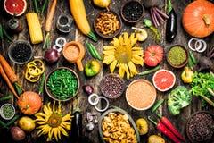 有机食品 各种各样的蔬菜和水果 免版税库存图片