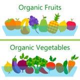 有机水果和蔬菜网横幅 库存例证