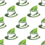 有机绿茶无缝的样式 免版税库存图片