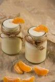 有机yougurt用在玻璃瓶子的新鲜的蜜桔 库存照片