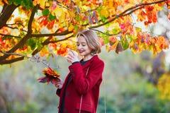 有束的少妇五颜六色的秋叶 库存照片