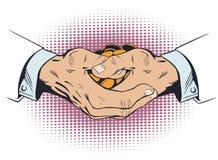 有束硬币的手 E 向量例证