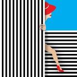 有条纹的红色帽子女孩 库存图片