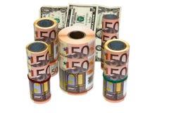 有条件在白色背景的钞票 免版税库存图片