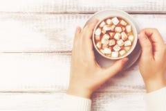 有杯子的女性手热的可可粉用蛋白软糖,葡萄酒样式,被定调子的减速火箭 库存图片