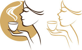 有杯子的妇女 免版税库存图片