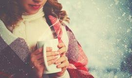 有杯子的愉快的妇女热的饮料在冷的冬天户外 库存图片