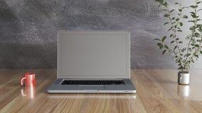 有杯子的笔记本和植物、黑墙壁和木桌3D例证 库存例证