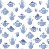 有杯子的茶壶 免版税库存照片