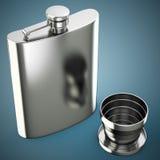 有杯子的金属熟悉内情的烧瓶 库存例证