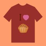 有松饼的图象的一件棕色T恤杉 库存图片