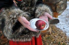 有板材和苹果冬天童话的妇女手 免版税库存图片