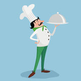 有板材的厨师 也corel凹道例证向量 免版税库存图片