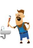 有板钳和水槽的快乐的水管工 免版税库存照片