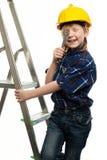 有板钳工具的小男孩 库存照片