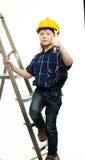 有板钳工具的小男孩 免版税库存图片