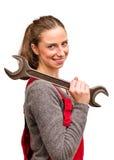 有板钳的年轻女工 免版税库存图片