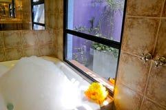 有极可意浴缸的卫生间 免版税库存照片