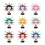 有极端发型的- 9种不同头发颜色女孩 库存照片