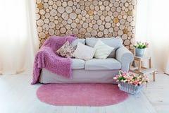 有枕头和桃红色盖子的一个轻的沙发,对墙壁 库存照片